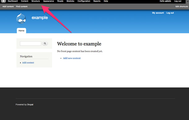 A quick look at the Drupal admin menu