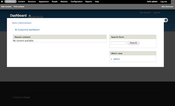 A view of the standard Drupal dashboard